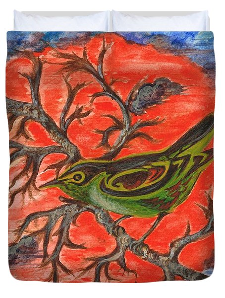 Duvet Cover featuring the painting Green Warbler by Teresa White