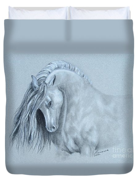 Duvet Cover featuring the painting Grey Horse by Laurianna Taylor