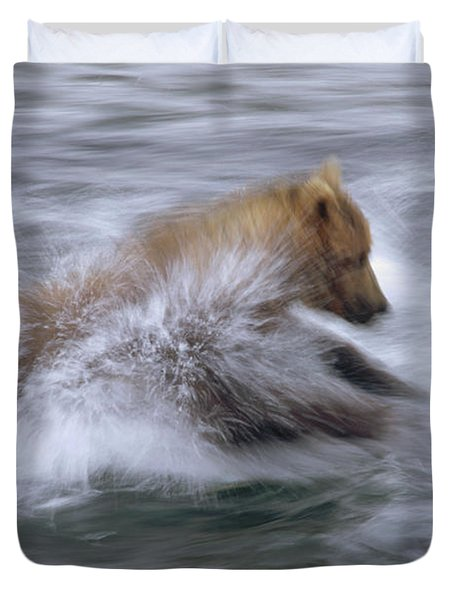 Grizzly Bear Chasing Fish Duvet Cover by Matthias Breiter