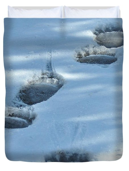 Grizzly Bear Tracks Duvet Cover