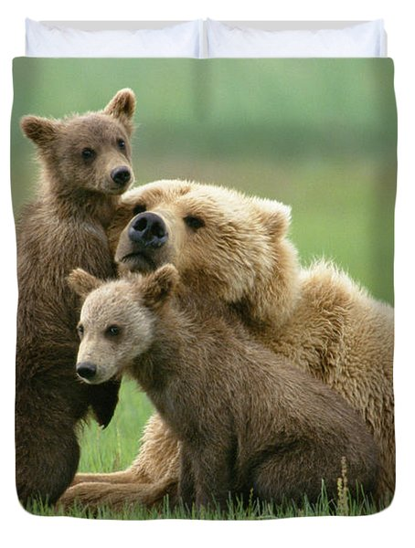 Grizzly Cubs Play With Mom Duvet Cover