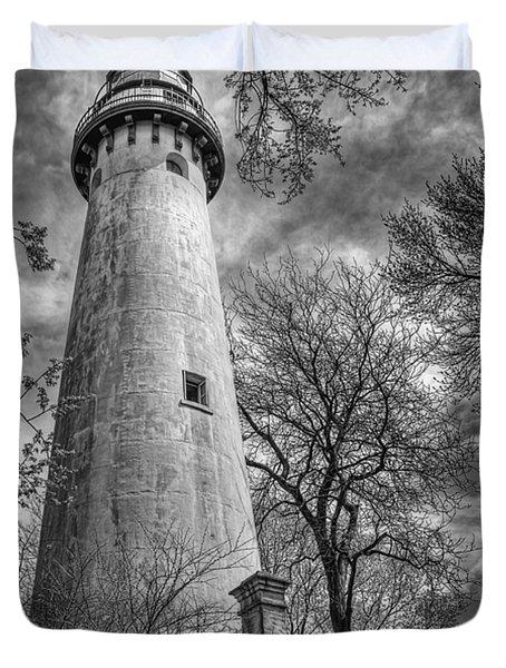 Grosse Point Lighthouse Duvet Cover