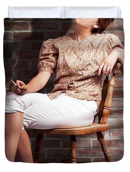 Grunge Girl Smoking Cigarette In Dark Interior Duvet Cover