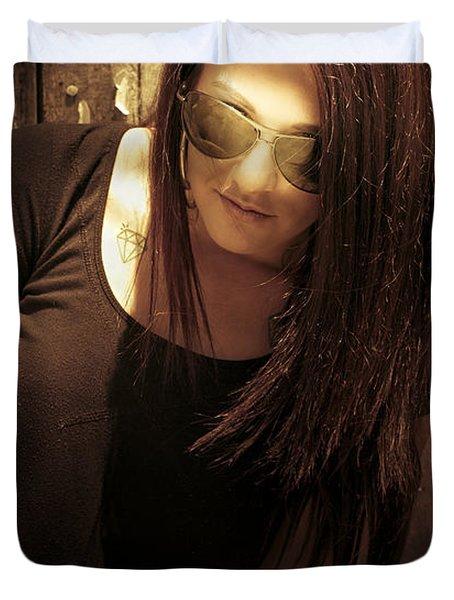 Grunge Woman Duvet Cover