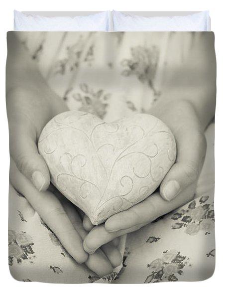 Hands Holding A Heart Duvet Cover