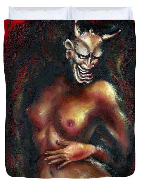 Duvet Cover featuring the painting Hannya by Hiroko Sakai