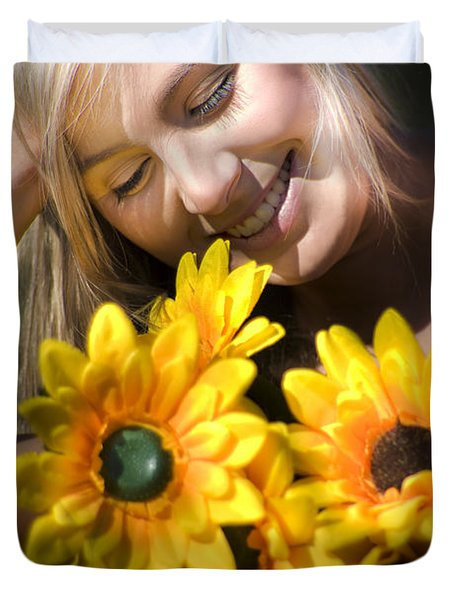 Happy Woman With Sunflowers Duvet Cover