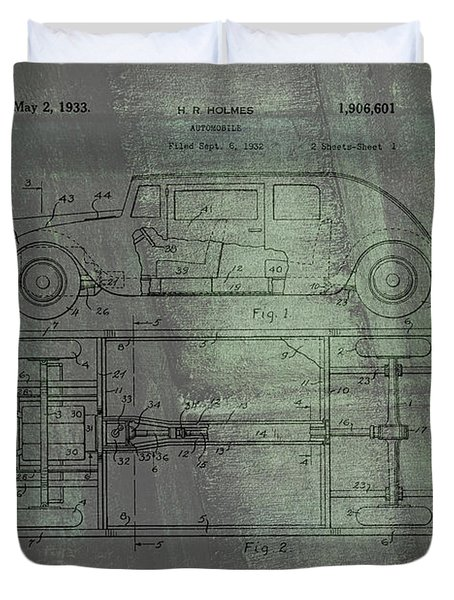 Harleigh Holmes Automobile Patent From 1932 Duvet Cover