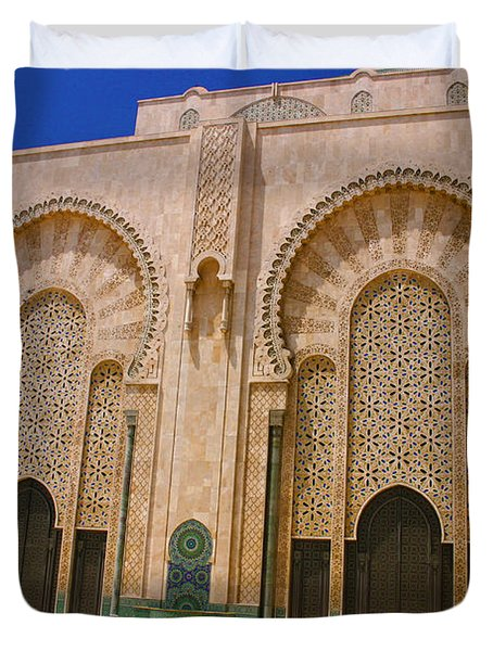 Duvet Cover featuring the photograph Hassan II Mosque Grand Mosque Sour Jdid Casablanca Morocco by Ralph A  Ledergerber-Photography