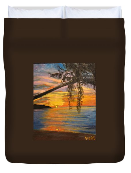 Duvet Cover featuring the painting Hawaiian Sunset 11 by Jenny Lee