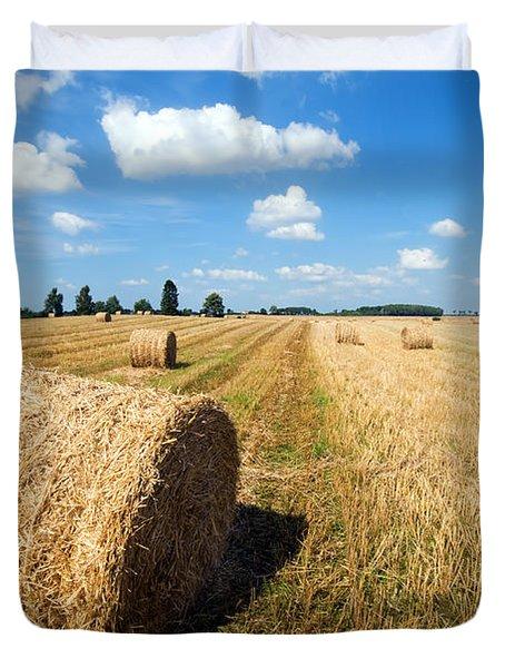 Haystacks In The Field Duvet Cover by Michal Bednarek