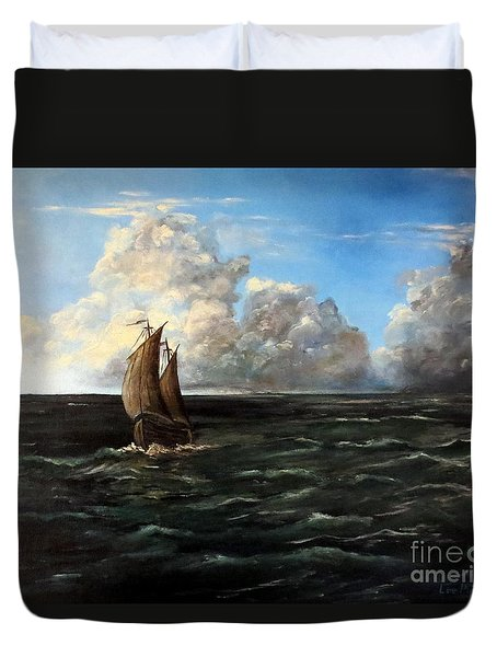 Heading For Shore Duvet Cover by Lee Piper