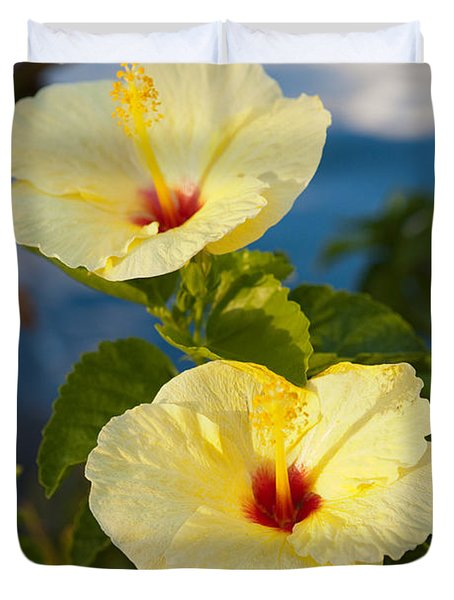 Duvet Cover featuring the photograph Bright Yellow Hibiscus by Roselynne Broussard