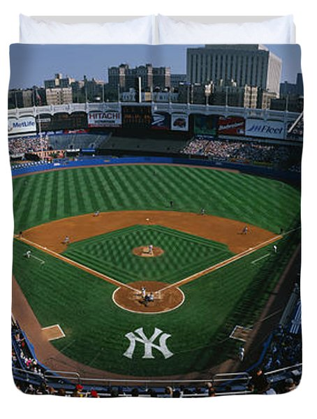 High Angle View Of A Baseball Stadium Duvet Cover
