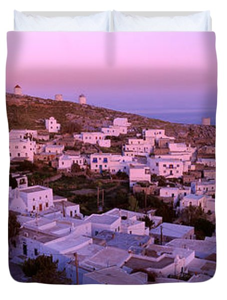 High Angle View Of Buildings Duvet Cover