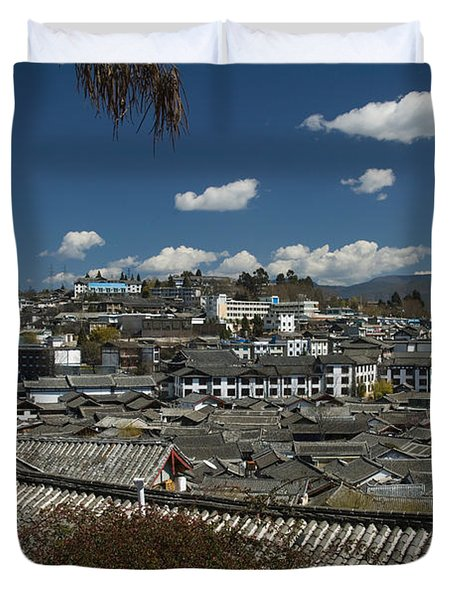 High Angle View Of Houses In A Town Duvet Cover