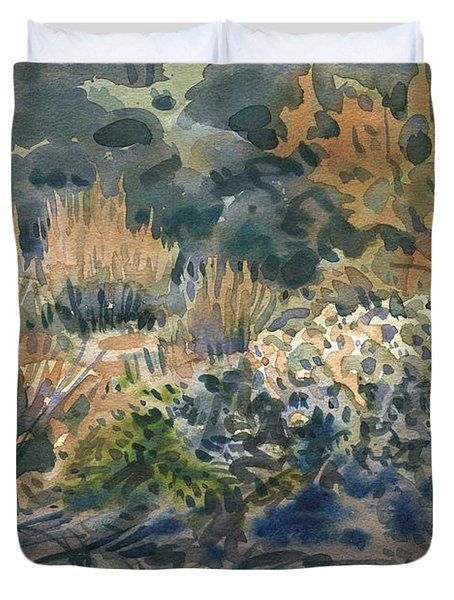 Duvet Cover featuring the painting High Desert Flora by Donald Maier