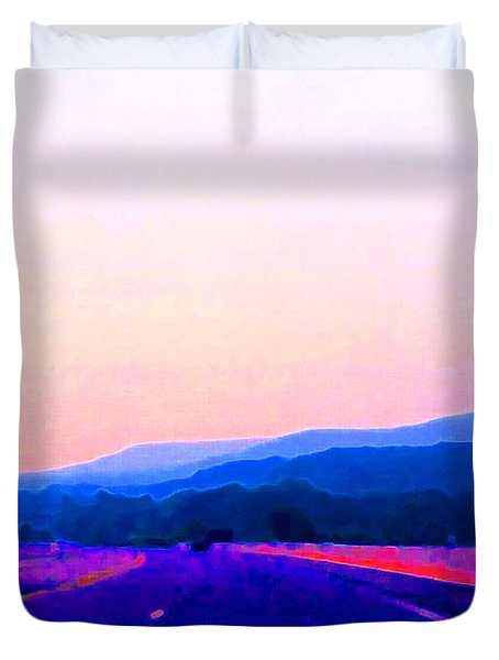 Duvet Cover featuring the photograph Highway In The Hills Sat Ae 2  by Lyle Crump