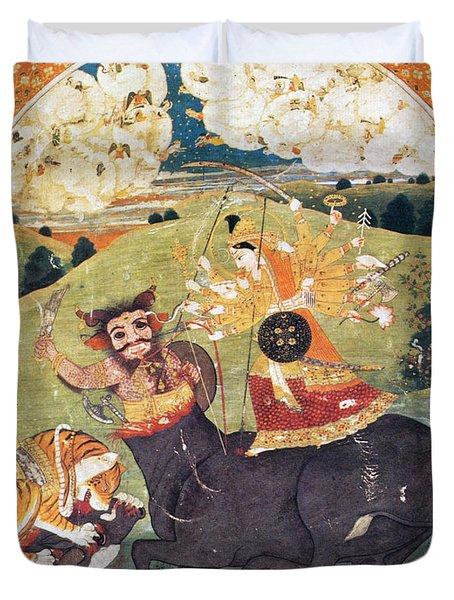 Hindu Goddess Durga Fights Mahishasur Duvet Cover