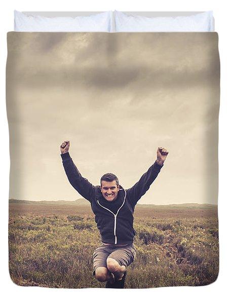 Holiday Man Jumping On Rural Australia Landscape Duvet Cover