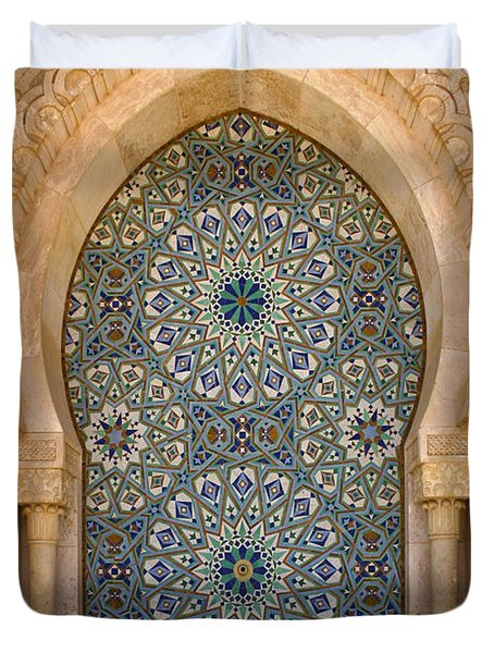 Duvet Cover featuring the photograph Holy Water Fountain Hassan II Mosque Sour Jdid Casablanca Morocco  by Ralph A  Ledergerber-Photography