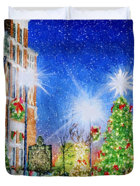 Home Town Christmas Duvet Cover by Darren Fisher