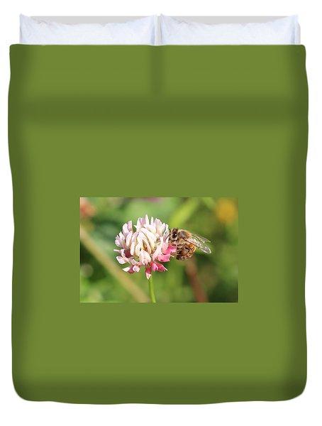 Honeybee On Clover Duvet Cover by Lucinda VanVleck