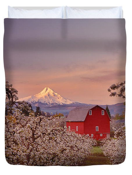 Hood River Sunrise Duvet Cover