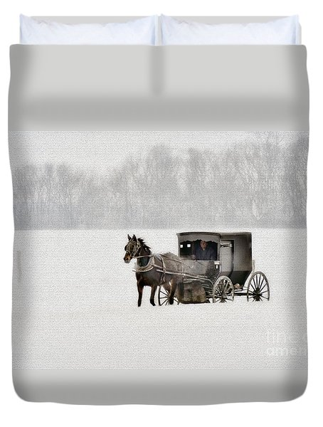 Horse And Buggy In Snow Storm Duvet Cover by Dan Friend