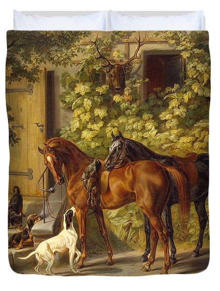 Horses At The Porch Duvet Cover