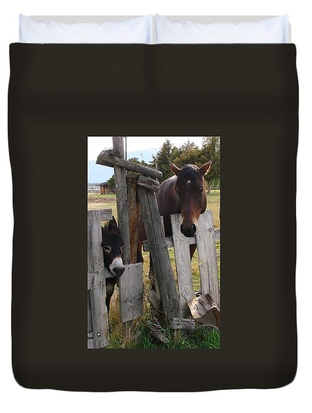 Horsing Around Duvet Cover by Athena Mckinzie