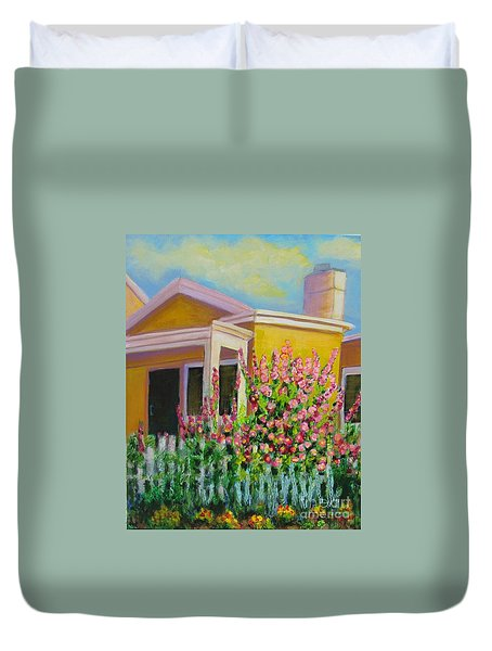 Hot Hollyhocks Duvet Cover