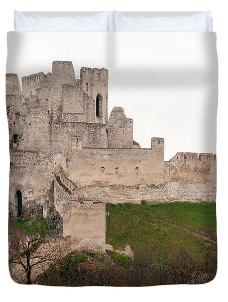 Duvet Cover featuring the photograph Hrad Beckov - Castle by Les Palenik