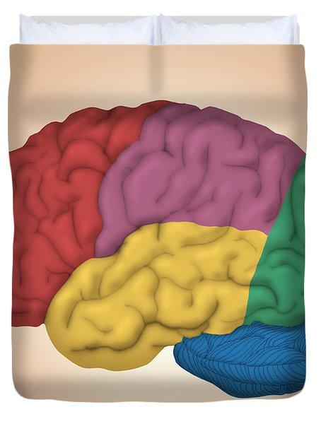 Human Brain, Lateral View Duvet Cover