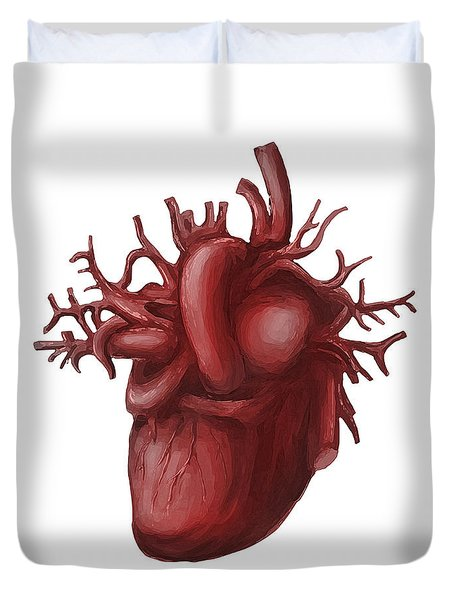 Human Heart Medical Diagram Isolated On White Duvet Cover