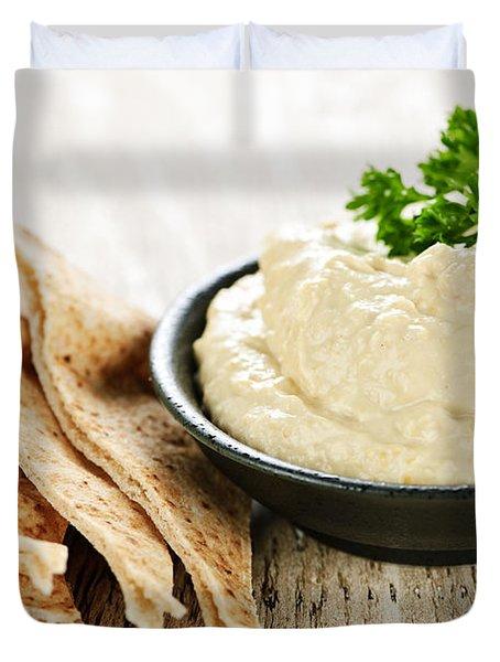 Hummus With Pita Bread Duvet Cover by Elena Elisseeva