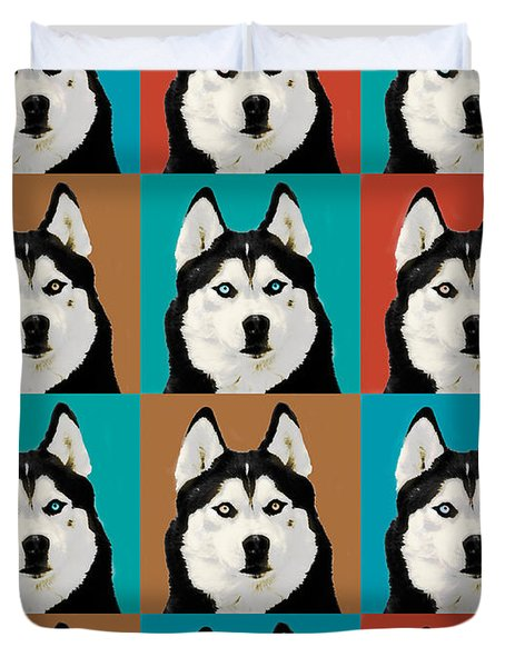 Husky Pop Art Duvet Cover