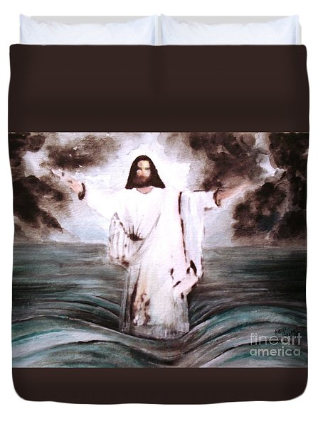 Duvet Cover featuring the painting I Am by Hazel Holland