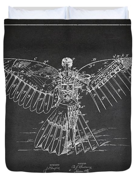 Icarus Flying Machine Patent Drawing Rear View Duvet Cover by Aged Pixel