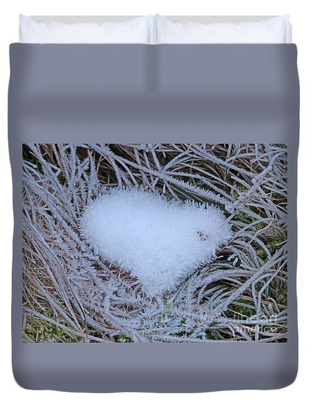 Duvet Cover featuring the photograph Ice Heart by Phil Banks