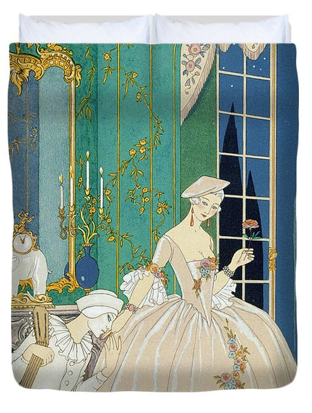 Illustration For 'fetes Galantes' Duvet Cover by Georges Barbier