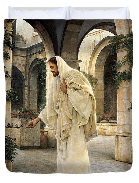 In His Constant Care Duvet Cover by Greg Olsen