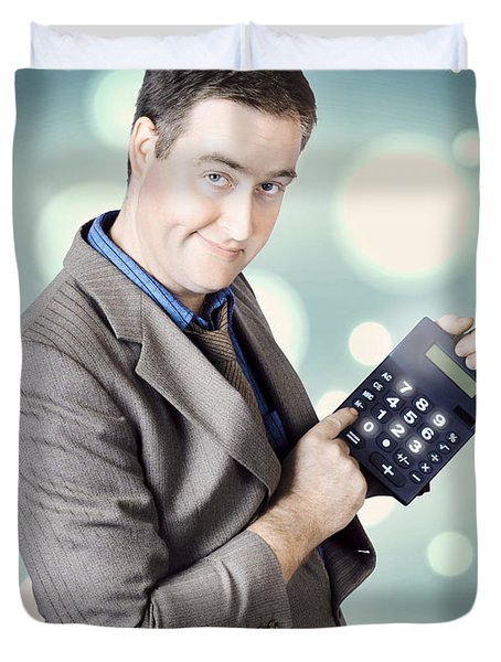 Income Tax Accountant Working Out Return On Refund Duvet Cover