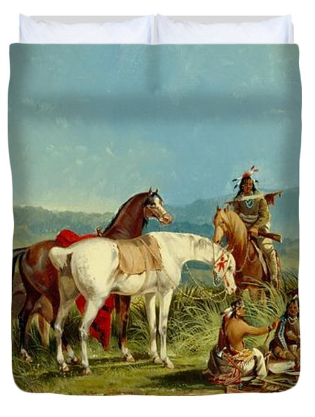 Indians Playing Cards Duvet Cover by John Mix Stanley