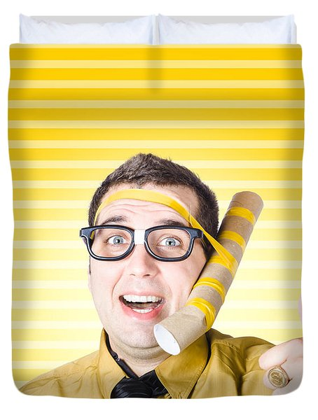 Inventive Man With Innovative Handmade Phone Duvet Cover