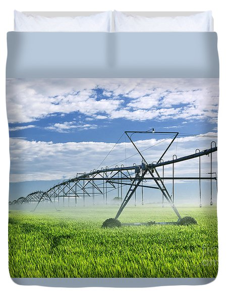 Irrigation Equipment On Farm Field Duvet Cover