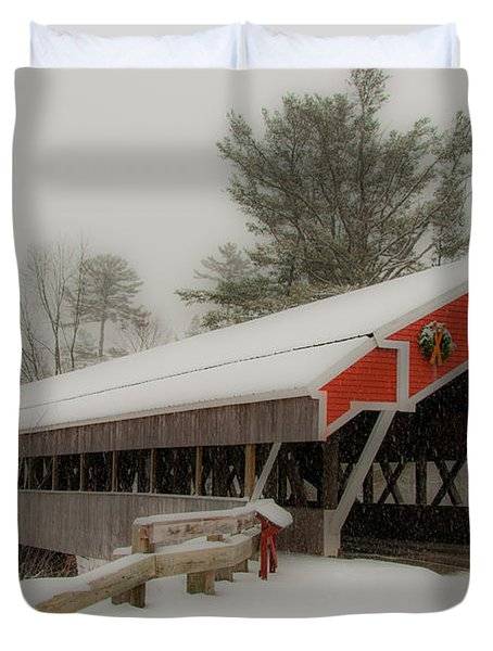 Jackson Nh Covered Bridge Duvet Cover by Brenda Jacobs