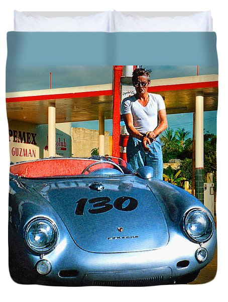 James Dean Filling His Spyder With Gas Duvet Cover