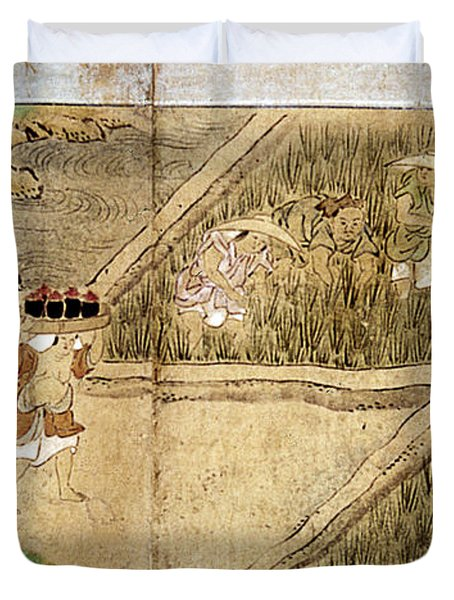 Japan Rice Farming Duvet Cover