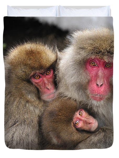 Japanese Macaque Mother With Young Duvet Cover